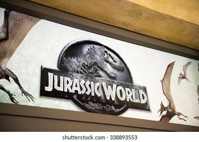 LOS ANGELES, USA - SEP 27, 2015: Jurassic World logo in Jurassic Park area in the Universal Studios Hollywood Park. Jurassic Park is a 1993 American adventure film  by Steven Spielberg
