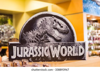 LOS ANGELES, USA - SEP 27, 2015: Gift shop at the Jurassic Park area in the Universal Studios Hollywood Park. Jurassic Park is a 1993 American adventure film  by Steven Spielberg