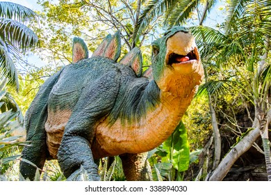 LOS ANGELES, USA - SEP 27, 2015:Stegosaur in  Jurassic Park area in the Universal Studios Hollywood Park. Jurassic Park is a 1993 American adventure film  by Steven Spielberg
