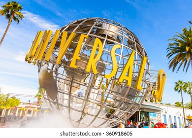 LOS ANGELES, USA - SEP 27, 2015: Universal Studios globe at the Entrance into the Universal Studios Hollywood Park. Universal Pictures company was created on June 10, 1912