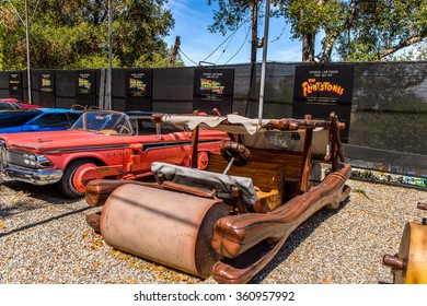 LOS ANGELES, USA - SEP 27, 2015: Flintstone car at the Hollywood Universal Studios. Universal Pictures company was created on June 10, 1912