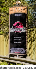 LOS ANGELES, USA - SEP 27, 2015: Jurassic Park film poster at the Hollywood Universal Studios. Universal Pictures company was created on June 10, 1912