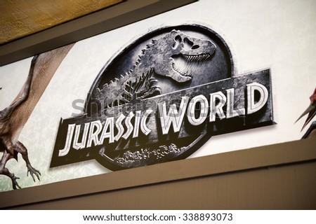 Los Angeles Usa Sep 27 2015 Jurassic World Logo In Jurassic Park