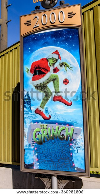 LOS ANGELES, USA - SEP 27, 2015: Jim Carrey the Grinch film poster at the Hollywood Universal Studios. Universal Pictures company was created on June 10, 1912