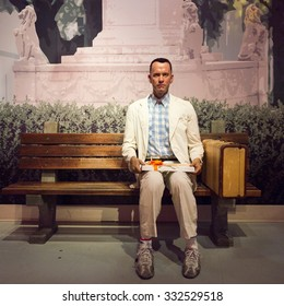 LOS ANGELES, USA - SEP 28, 2015: Tom Hanks as Forrest Gump in the  Madame Tussauds Hollywood wax museum. Marie Tussaud was born as Marie Grosholtz in 1761