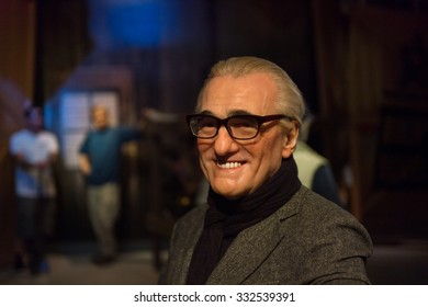 LOS ANGELES, USA - SEP 28, 2015: Martin Scorsese in Madame Tussauds Hollywood wax museum. Marie Tussaud was born as Marie Grosholtz in 1761