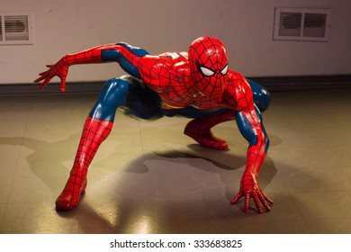 LOS ANGELES, USA - SEP 28, 2015: Spiderman in the  Madame Tussauds Hollywood wax museum. Marie Tussaud was born as Marie Grosholtz in 1761