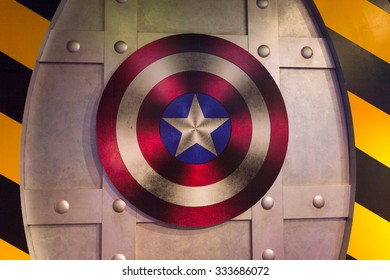 LOS ANGELES, USA - SEP 28, 2015: Captain America sheeld in the  Madame Tussauds Hollywood wax museum. Marie Tussaud was born as Marie Grosholtz in 1761
