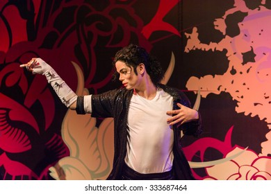 LOS ANGELES, USA - SEP 28, 2015: Michael Jackson in the  Madame Tussauds Hollywood wax museum. Marie Tussaud was born as Marie Grosholtz in 1761