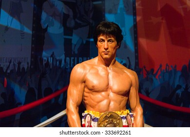 LOS ANGELES, USA - SEP 28, 2015: Sylvester Stellone as Rocky Balboa in  Madame Tussauds Hollywood wax museum. Marie Tussaud was born as Marie Grosholtz in 1761