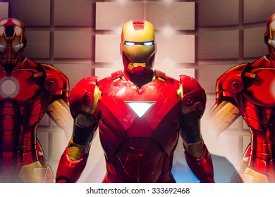 LOS ANGELES, USA - SEP 28, 2015: Iron Man in the  Madame Tussauds Hollywood wax museum. Marie Tussaud was born as Marie Grosholtz in 1761