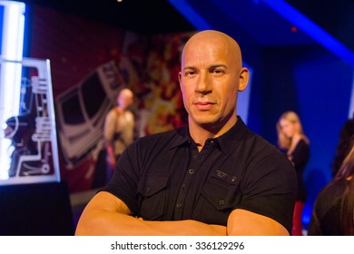 LOS ANGELES, USA - SEP 28, 2015: Vin Diesel in the  Madame Tussauds Hollywood wax museum. Marie Tussaud was born as Marie Grosholtz in 1761