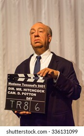 LOS ANGELES, USA - SEP 28, 2015: Alfred Hitchcock in  Madame Tussauds Hollywood wax museum. Marie Tussaud was born as Marie Grosholtz in 1761