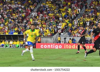 Los Angeles, USA - September 10, 2019: Brazilian soccer player NeymarJr, during International Friendly Soccer match, Brazil vs Peru at the Los Angeles Memorial Coliseum.