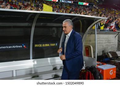 Los Angeles, USA - September 10, 2019: Brazilian national soccer team coach Tite during International Friendly Soccer match, Brazil vs Peru at the Los Angeles Memorial Coliseum.