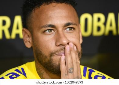 Los Angeles, USA - September 10, 2019: Brazilian soccer player Neymar Jr during International Friendly Soccer match, Brazil vs Peru at the Los Angeles Memorial Coliseum.