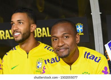 Los Angeles, USA - September 10, 2019: Brazilian soccer players Jorge and Samir during International Friendly Soccer match, Brazil vs Peru at the Los Angeles Memorial Coliseum.