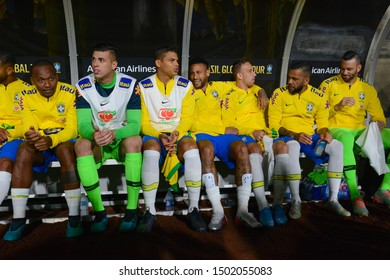 Los Angeles, USA - September 10, 2019: Brazilian national soccer team reserves bench during International Friendly Soccer match, Brazil vs Peru at the Los Angeles Memorial Coliseum.