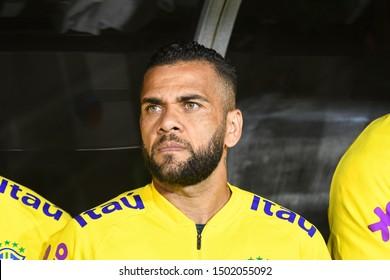 Los Angeles, USA - September 10, 2019: Brazilian soccer player Dani Alves, during the International Friendly Soccer match, Brazil vs Peru at the Los Angeles Memorial Coliseum.
