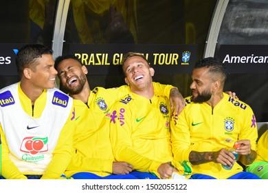 Los Angeles, USA - September 10, 2019: Thiago Silva, Neymar Jr, Arthur and Dani Alves reserve players during International Friendly Soccer match, Brazil vs Peru at the Los Angeles Memorial Coliseum.