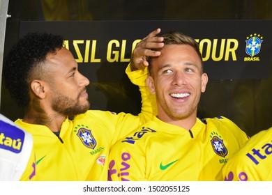 Los Angeles, USA - September 10, 2019: Brazilian soccer players Neymar Jr and Arthur  during International Friendly Soccer match, Brazil vs Peru at the Los Angeles Memorial Coliseum.