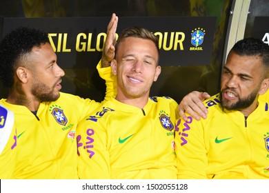 Los Angeles, USA - September 10, 2019: Brazilian soccer players Neymar Jr,  Arthur and Dani Alves, during International Friendly Soccer match, Brazil vs Peru at the Los Angeles Memorial Coliseum.