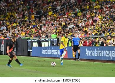 Los Angeles, USA - September 10, 2019: Brazilian soccer player Alex Sandro during International Friendly Soccer match, Brazil vs Peru at the Los Angeles Memorial Coliseum.