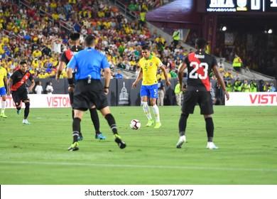 Los Angeles, USA - September 10, 2019: Brazilian soccer player Casemiro during International Friendly Soccer match, Brazil vs Peru at the Los Angeles Memorial Coliseum.