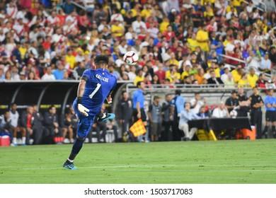 Los Angeles, USA - September 10, 2019: Peruvian Goalkeeper Gallese during International Friendly Soccer match, Brazil vs Peru at the Los Angeles Memorial Coliseum.