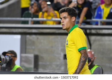 Los Angeles, USA - September 10, 2019: Brazilian soccer player Philippe Coutinho during International Friendly Soccer match, Brazil vs Peru at the Los Angeles Memorial Coliseum.