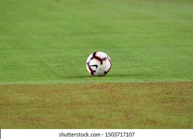 Los Angeles, USA - September 10, 2019: Soccer ball on the field during International Friendly Soccer match, Brazil vs Peru at the Los Angeles Memorial Coliseum.