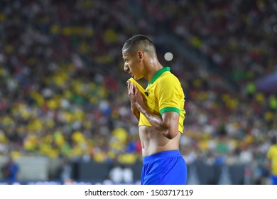 Los Angeles, USA - September 10, 2019: Brazilian soccer player Richarlison during International Friendly Soccer match, Brazil vs Peru at the Los Angeles Memorial Coliseum.