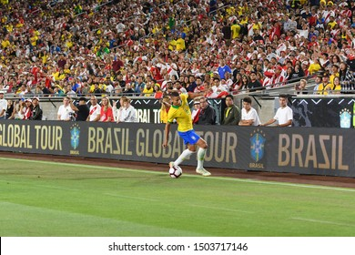 Los Angeles, USA - September 10, 2019: Brazilian soccer player Richarlisonduring International Friendly Soccer match, Brazil vs Peru at the Los Angeles Memorial Coliseum.