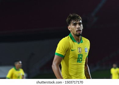 Los Angeles, USA - September 10, 2019: Brazilian soccer player Lucas Paqueta during International Friendly Soccer match, Brazil vs Peru at the Los Angeles Memorial Coliseum.