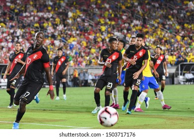 Los Angeles, USA - September 10, 2019: Peruvian players look at the ball during International Friendly Soccer match, Brazil vs Peru at the Los Angeles Memorial Coliseum.