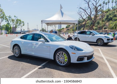 Los Angeles, USA - September 14, 2019: Porsche Panamera E-Hybrid 4 during Charge Up LA, electric vehicle EVs and plug-in hybrids PHEVs event.