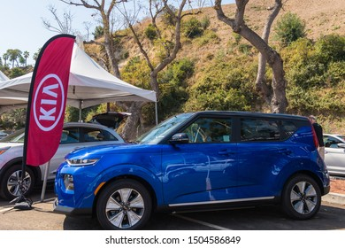 Los Angeles, USA - September 14, 2019: Kia Soul EV during Charge Up LA, electric vehicle EVs and plug-in hybrids PHEVs event.