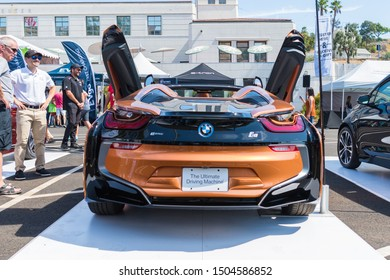 Los Angeles, USA - September 14, 2019: BMW i8 Roadster during Charge Up LA, electric vehicle EVs and plug-in hybrids PHEVs event.