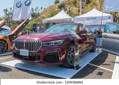 Los Angeles, USA - September 14, 2019: BMW 745Le Hybrid during Charge Up LA, electric vehicle EVs and plug-in hybrids PHEVs event.