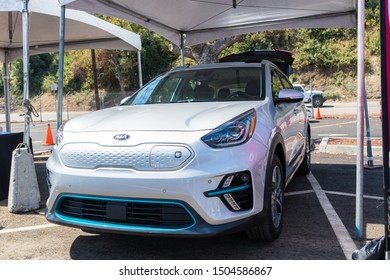 Los Angeles, USA - September 14, 2019: Kia Niro EV during Charge Up LA, electric vehicle EVs and plug-in hybrids PHEVs event.