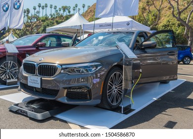 Los Angeles, USA - September 14, 2019: BMW 330e Plug-In Hybrid during Charge Up LA, electric vehicle EVs and plug-in hybrids PHEVs event.