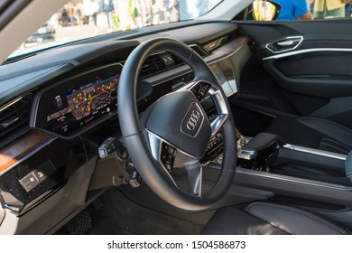 Los Angeles, USA - September 14, 2019: Audi e-tron during Charge Up LA, electric vehicle EVs and plug-in hybrids PHEVs event.
