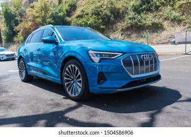 Los Angeles, USA - September 14, 2019: Audi e-tron first All-Electric SUV from Audi during Charge Up LA, electric vehicle EVs and plug-in hybrids PHEVs event.
