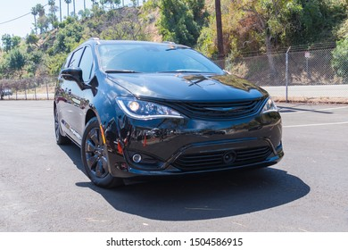 Los Angeles, USA - September 14, 2019: Chrysler Pacifica Hybrid Limited during Charge Up LA, electric vehicle EVs and plug-in hybrids PHEVs event.
