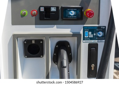 Los Angeles, USA - September 14, 2019: Nissan LEAF charging station during Charge Up LA, electric vehicle EVs and plug-in hybrids PHEVs event.