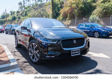 Los Angeles, USA - September 14, 2019: Jaguar I-PACE electric car during Charge Up LA, electric vehicle EVs and plug-in hybrids PHEVs event.