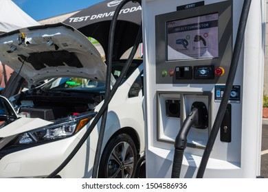 Los Angeles, USA - September 14, 2019: Nissan LEAF compact electric car during Charge Up LA, electric vehicle EVs and plug-in hybrids PHEVs event.