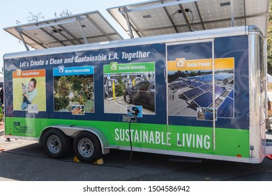 Los Angeles, USA - September 14, 2019: Sustainable solar power trailer during Charge Up LA, electric vehicle EVs and plug-in hybrids PHEVs event.