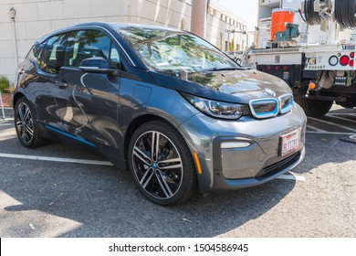 Los Angeles, USA - September 14, 2019: BMW i3 during Charge Up LA, electric vehicle EVs and plug-in hybrids PHEVs event.