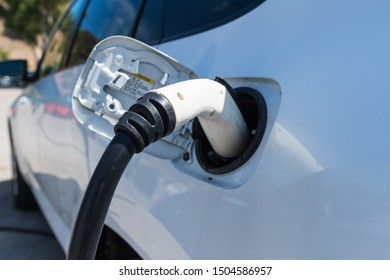 Los Angeles, USA - September 14, 2019: Toyota RAV4 EV during Charge Up LA, electric vehicle EVs and plug-in hybrids PHEVs event.